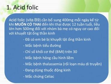Tại sao cần bổ sung axit folic trước khi mang thai
