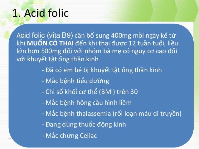 Tại sao cần bổ sung axit folic trước khi mang thai 1