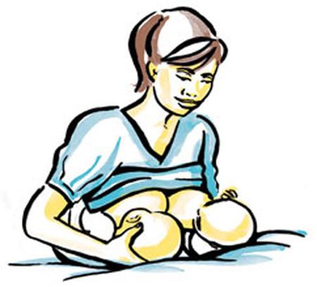 Tư thế kết hợp cho bú với bé song sinh.