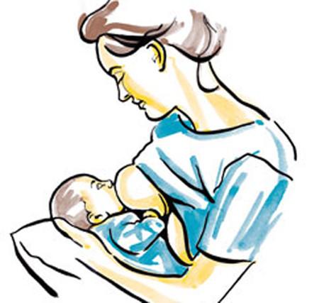 Giữ em bé trên đùi của mẹ bằng cách dùng cách tay đối diện của mẹ nâng bé.